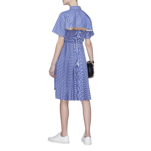 PLEATED BACK STRIPE SHIRT DRESS