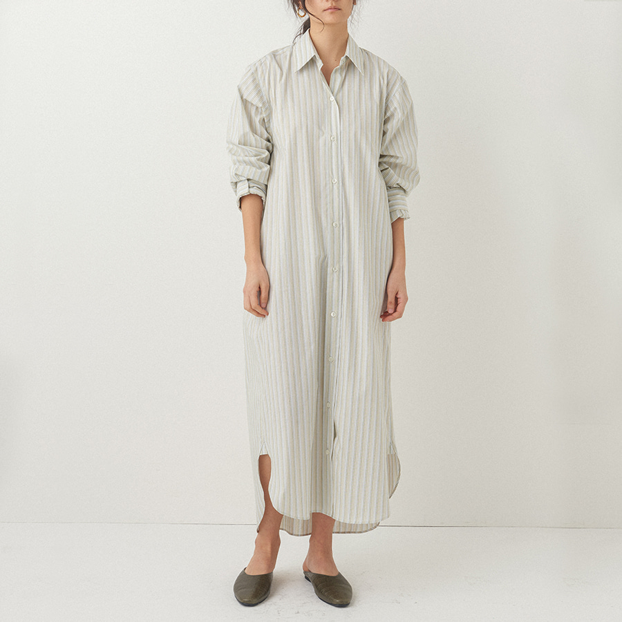 Stripe long basic shirts dress