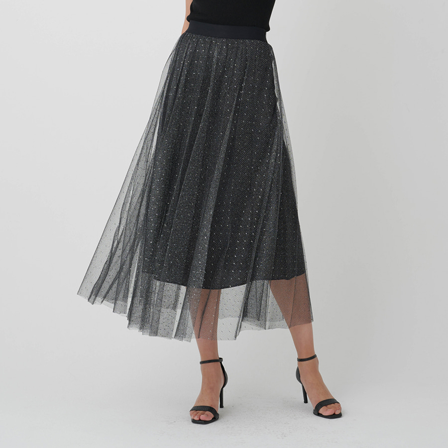 Metallic Mesh Skirt