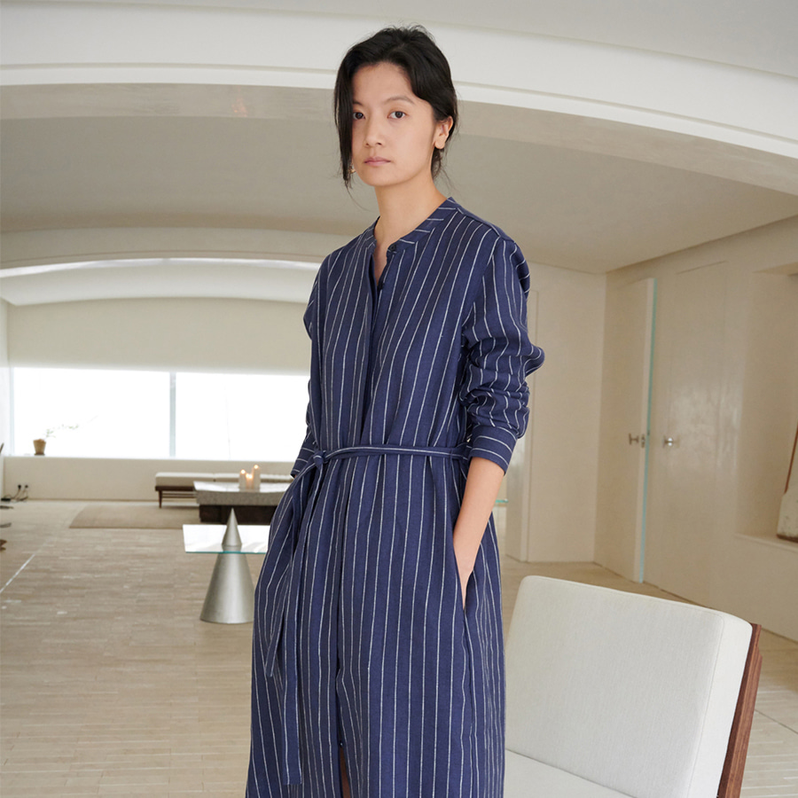 Striped China Neck Dress
