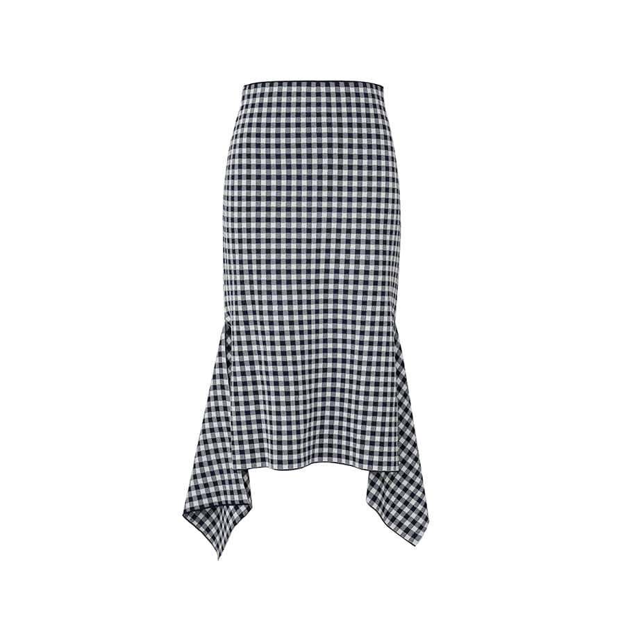 Utility gingham slit skirt