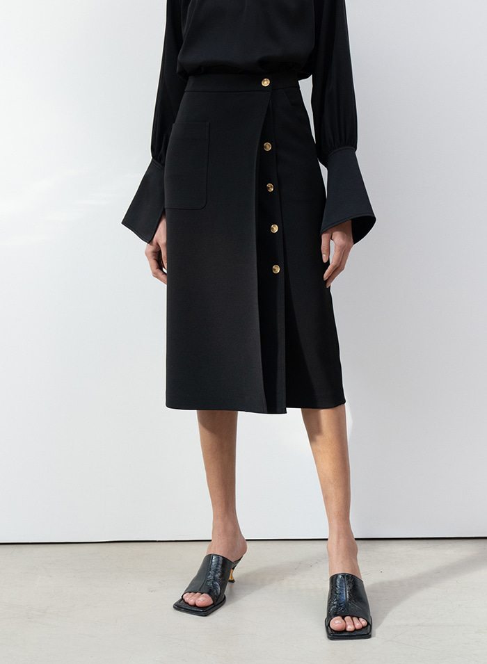 Michele button wrap skirt