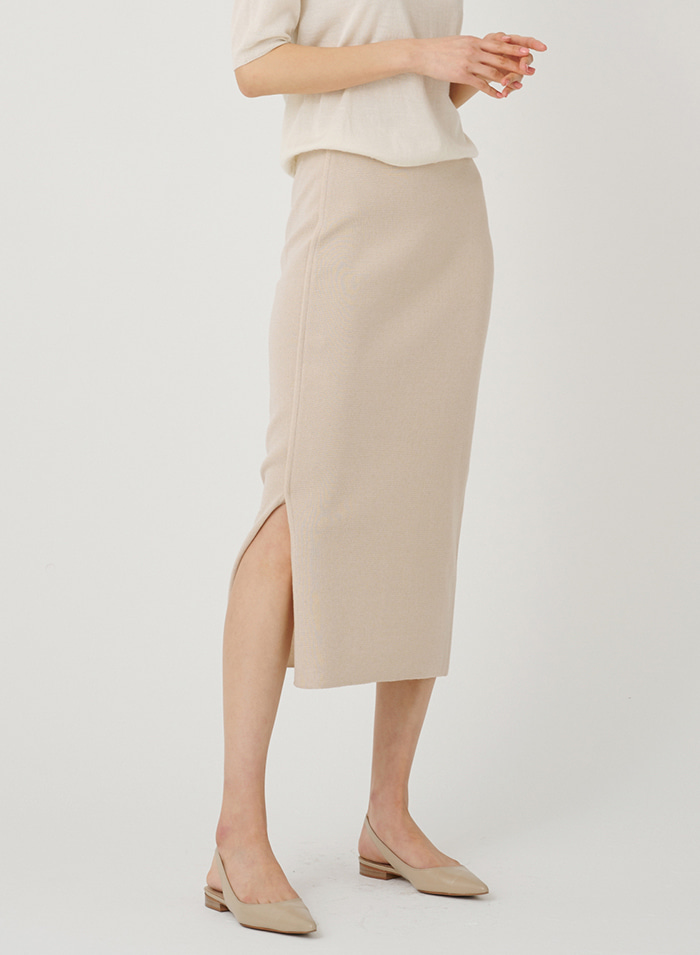 Piping line knit skirt