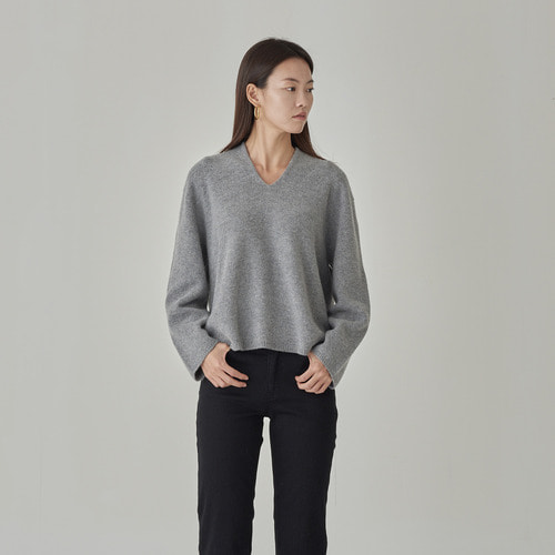 Cashmere Drop v neck knit