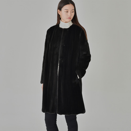 [ BLACK GLAMA ] ROUND NECK MINK COAT