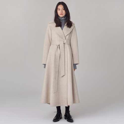 Cashmere blended row flare coat
