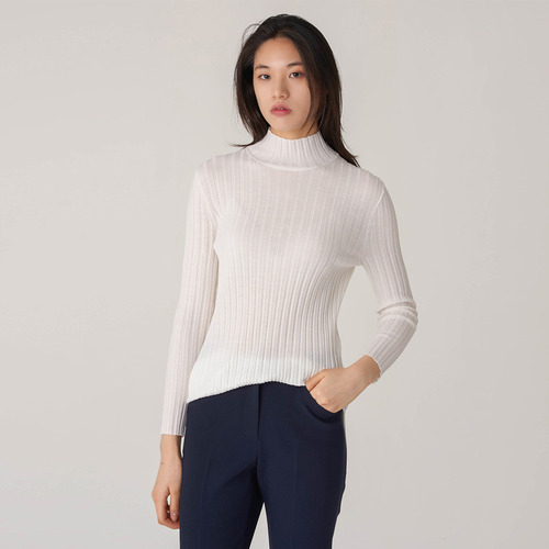 HALF  NECK RIB SWEATER IN 37-GAUGE MERINO
