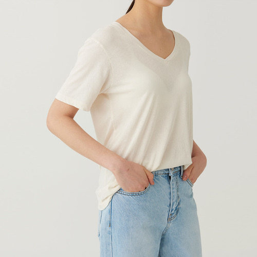 USA cotton deep v tee