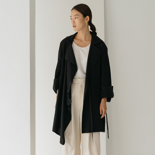 UNBAL LINEN DRAPE JACKET