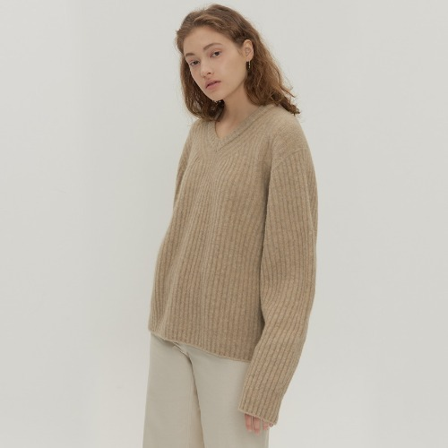 Camel V-neck Knit