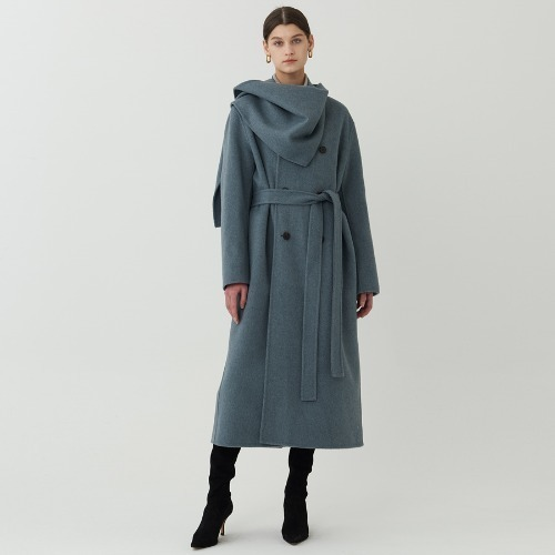 Paris long coat with scarf