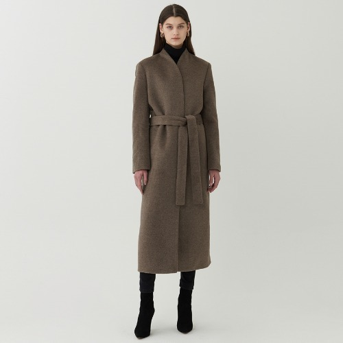 40% SALE / Angora no collar belted coat