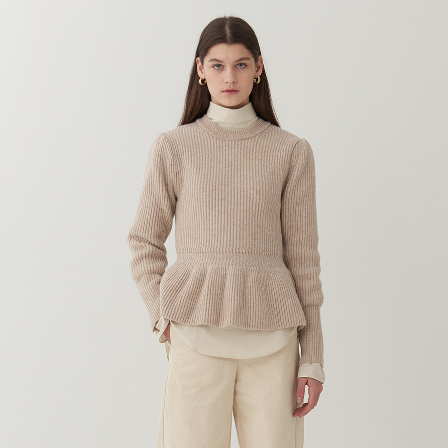 Puffy shirring sweater