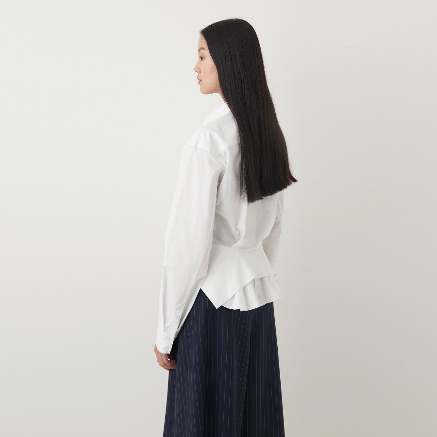 GLAMOUR BACK RUFFLE COTTON SHIRTS