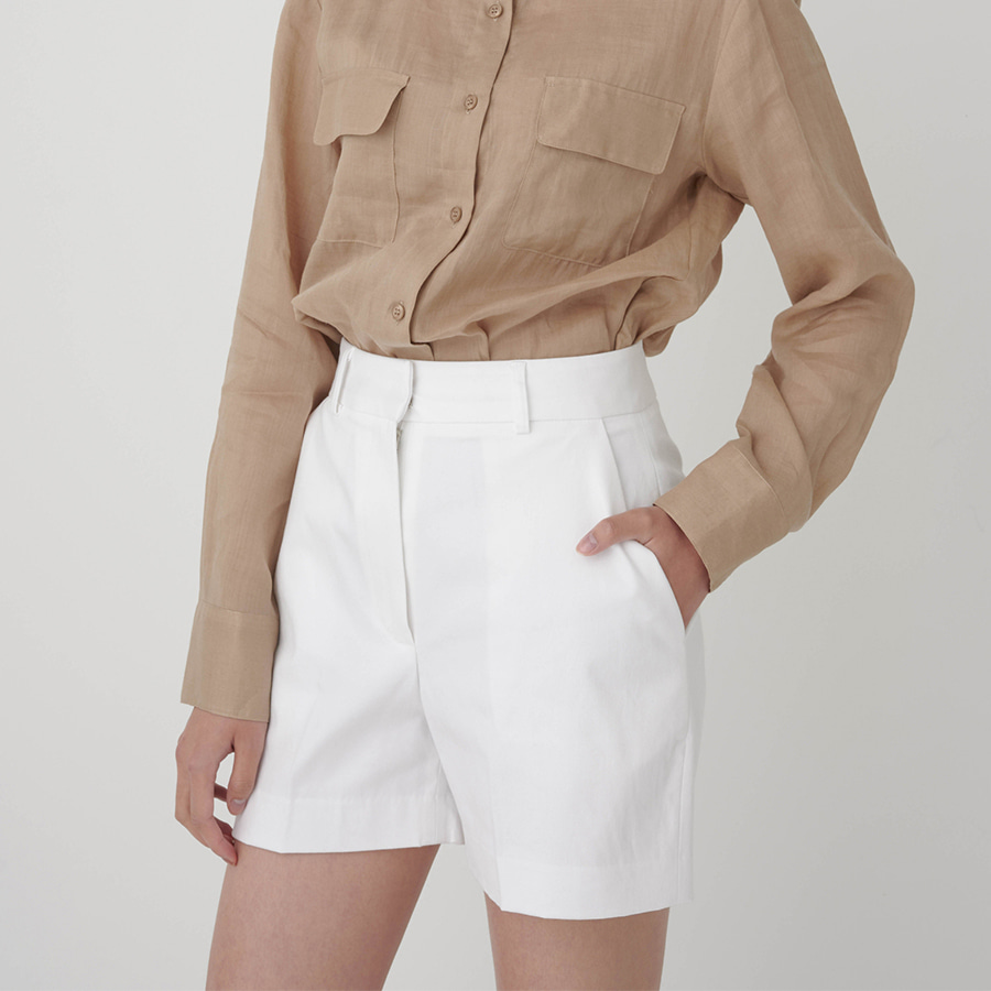 High waisted blended cotton shorts