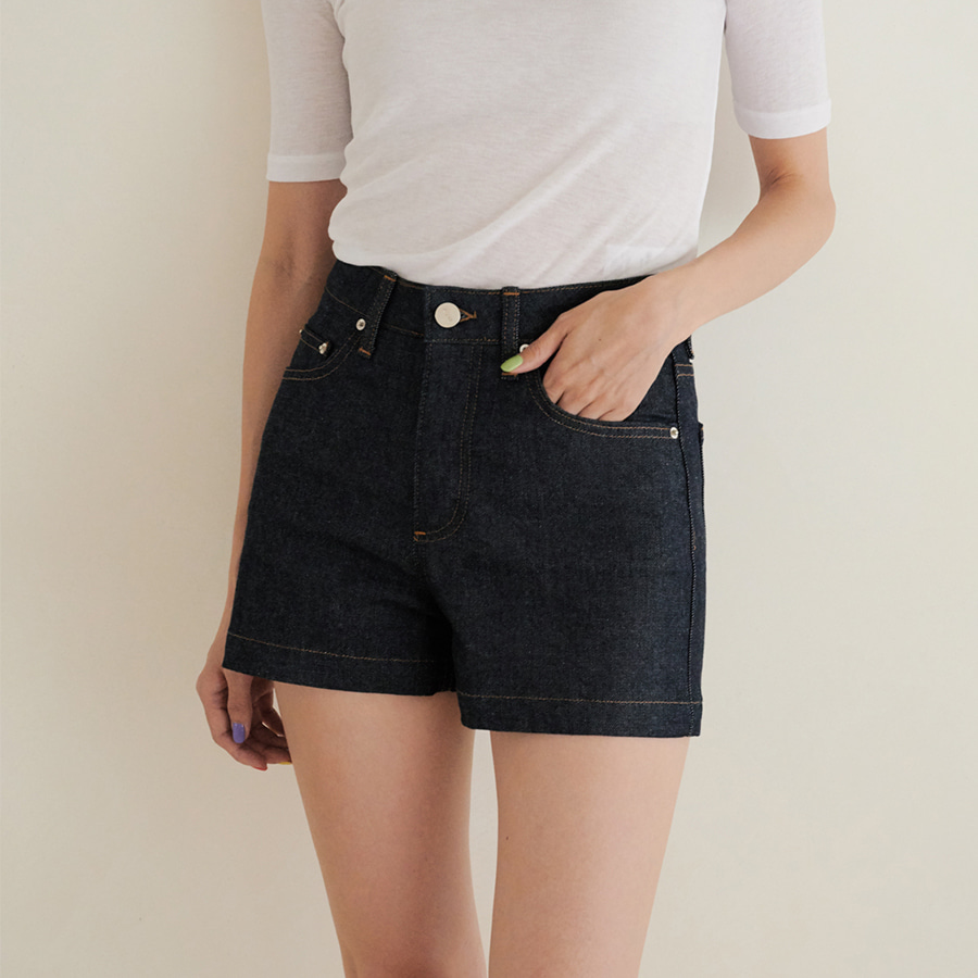 Low Denim Shorts