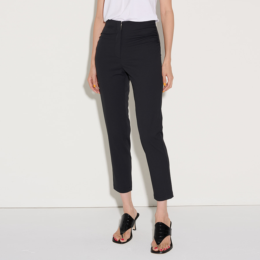 COLLE SHIRRING SUMMER CROP TROUSER