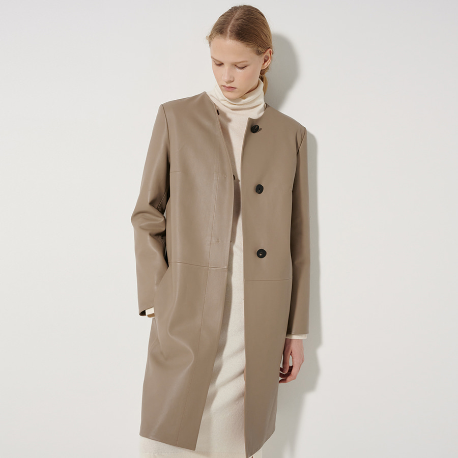 Single lamb skin leather coat