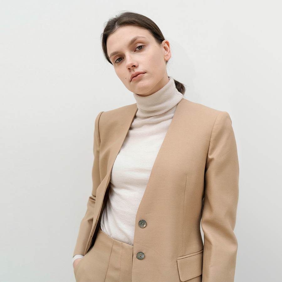 collarless twill blazer